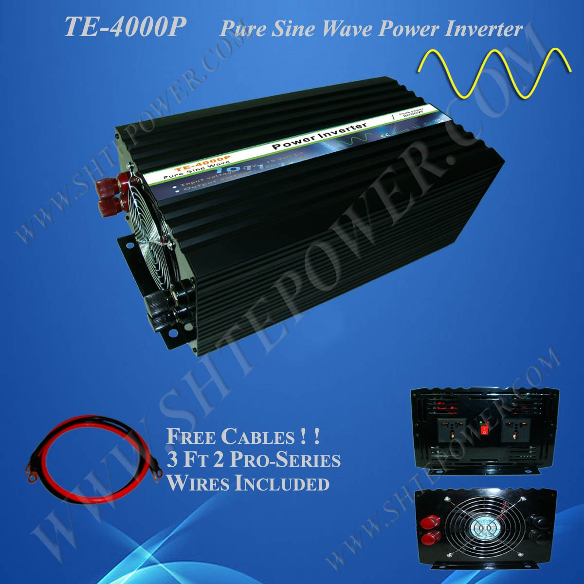 Power inverter DC 12v to AC 230v, 4000w pure sine wave power inverter, CE&RoHS Approved