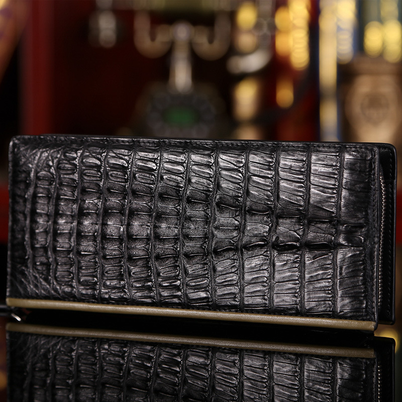 New Fashion Luxury Real 100% Crocodile Leather Business Mens Long Wallet High Quality Male Purse Zipper Wallet with Card Holders