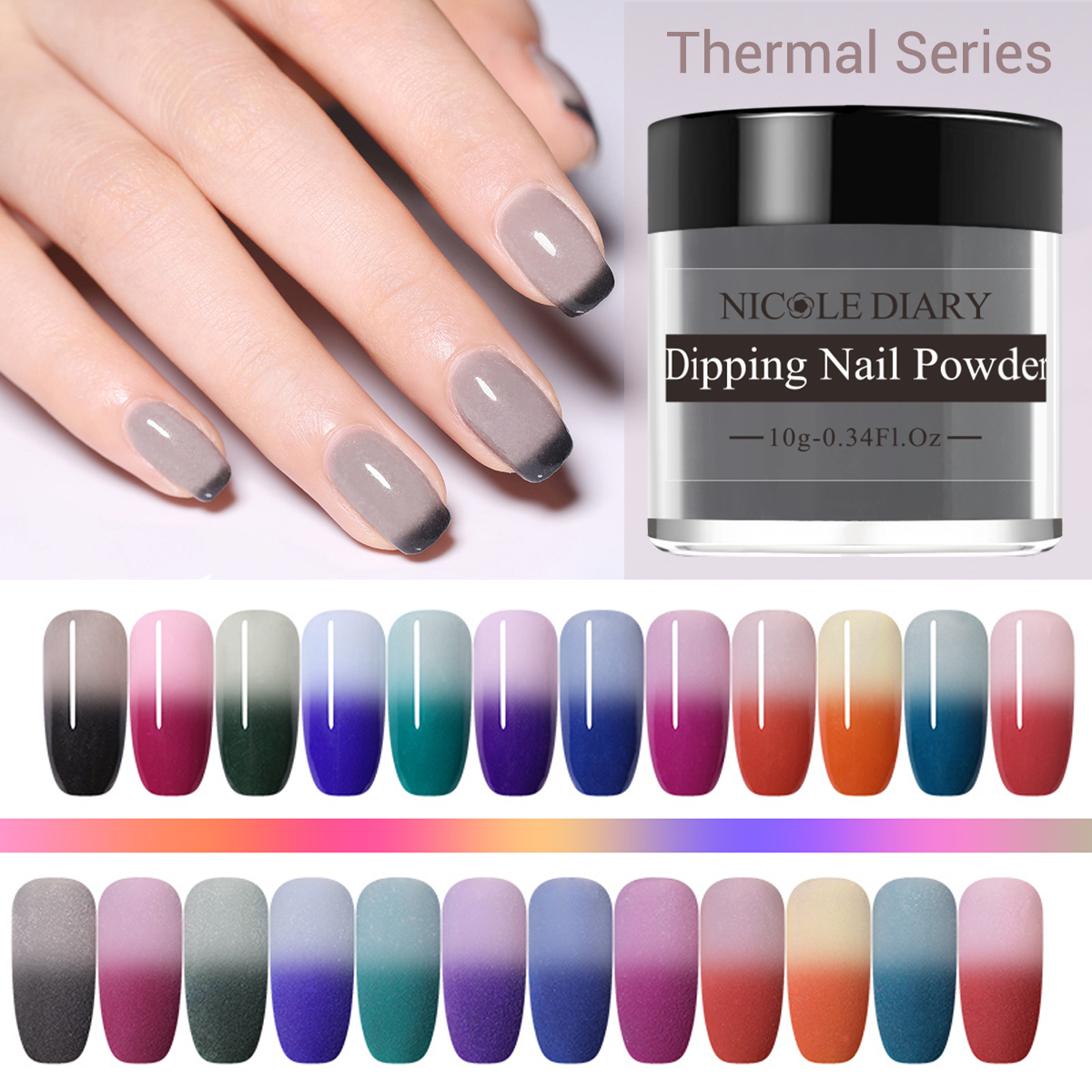 NICOLE DIARY 10g Thermal Dipping Nail Powder Gradient Color Changing Dipping Nail Glitter Pigment Dust Natural Dry Decoration-in Nail Glitter from Beauty & Health