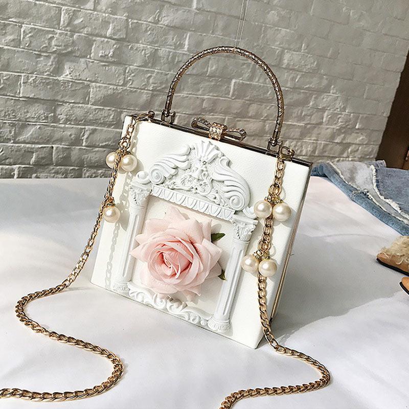 Women Shoulder Bag Rose Detachable Metal Chain Crossbody Bag Handbag for Shopping NewWomen Shoulder Bag Rose Detachable Metal Chain Crossbody Bag Handbag for Shopping New
