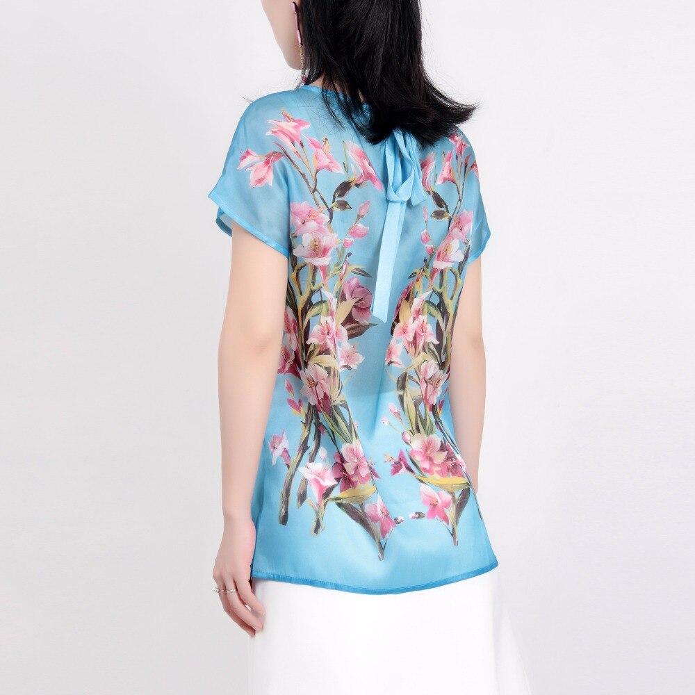 Adivinar Camiseta Adelfa Top Mujeres Mujer Seda Corta Nueva Al 2018 Verano Manga Rosa Pintura Organza Azul Impresión Suéteres Fresca Óleo UYqrUFn