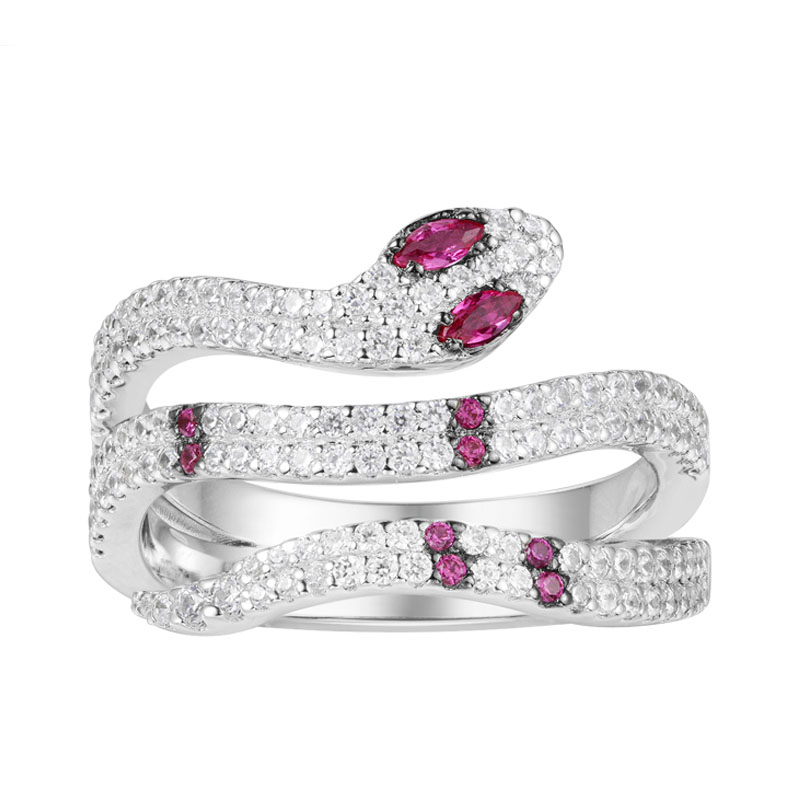 SKA Rings For Women 925 Sterling Silver Women Ring 2018 New Arrivals Inlaid Zircon Red Snake Party Fine Jewelry A18485XKR stylish zircon inlaid hollow ring for women