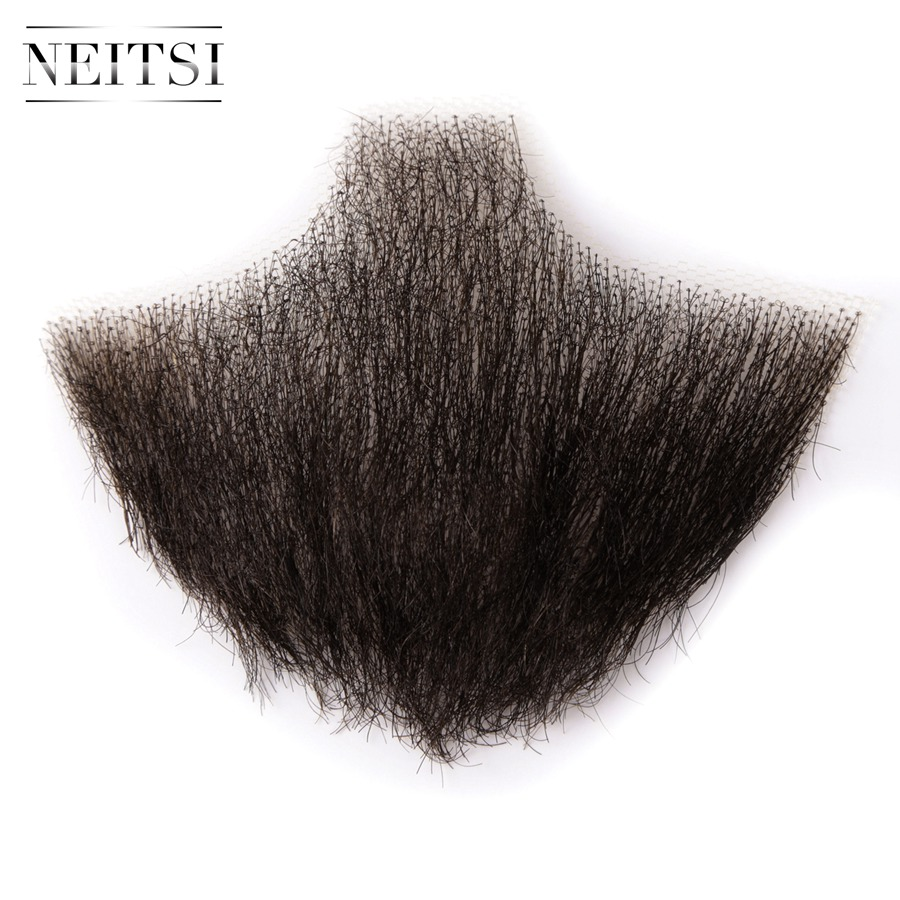 Neitsi 1Pcs Men 39 s Mustache 100 Human Hair Handknoted Fake Beard EM 749BHH in Eye Shadow Applicator from Beauty amp Health
