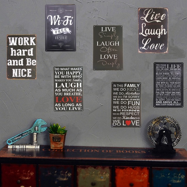 Shabby Chic Tin Metal Signs Love Live Free Wi Fi Restaurant Poster Bedroom Pub Home