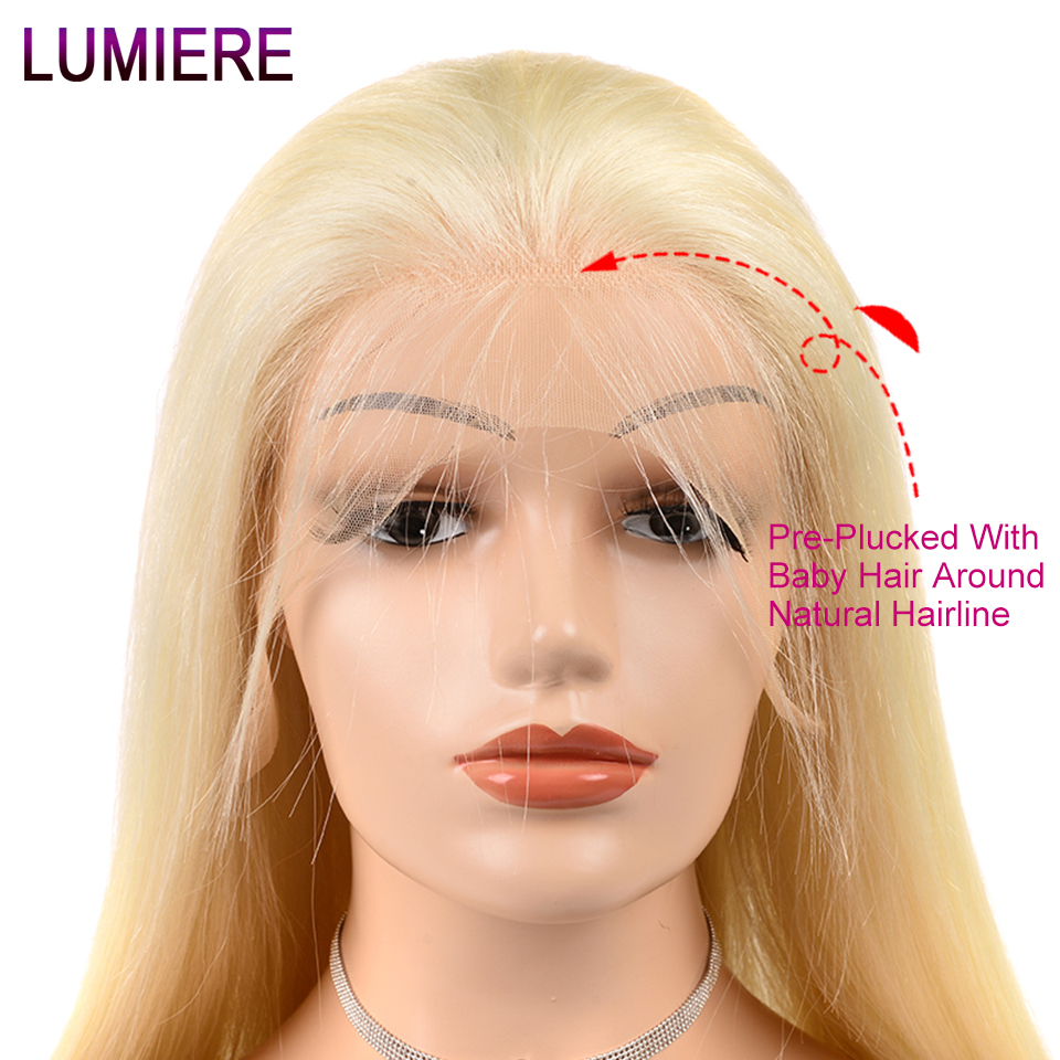 Lumiere Hair 13X4 Blonde Lace Front Wig Peruvian 613 Straight Lace Front Human Hair Wigs Non