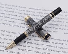 Jinhao 5000 Vintage Luxurious Metal Rollerball Pen Beautiful Dragon Texture Carving, Gray Color Ink Pen for Office Business jinhao luxurious rollerball pen with ink refill classic style dragon clip white writing signature pen business office supplies