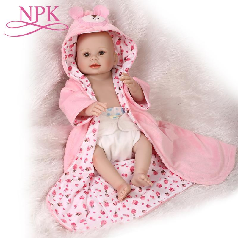 NPK Full Silicone Soft Reborn Baby Dolls 50cm Girl Bebes Reborns Doll with Clothes & Toy & 20-22 inch Rebirth Baby Doll ClothesNPK Full Silicone Soft Reborn Baby Dolls 50cm Girl Bebes Reborns Doll with Clothes & Toy & 20-22 inch Rebirth Baby Doll Clothes