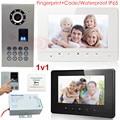 Video Intercom Fingerprint+Password Home Video Intercom  IP65 CCD 700lines Camera Wired  Color Monitor 7inch  Video Door Phone
