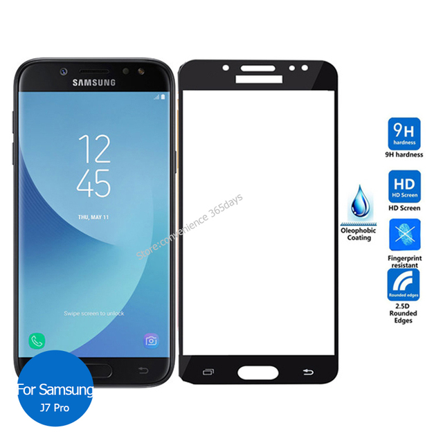 low cost f93eb ce51a US $3.2 35% OFF|For Samsung Galaxy J7 Pro 2017 Full cover Tempered Glass  Screen Protector 2.5 9h Safety Protective Film on J7Pro J 7 730F J730-in ...