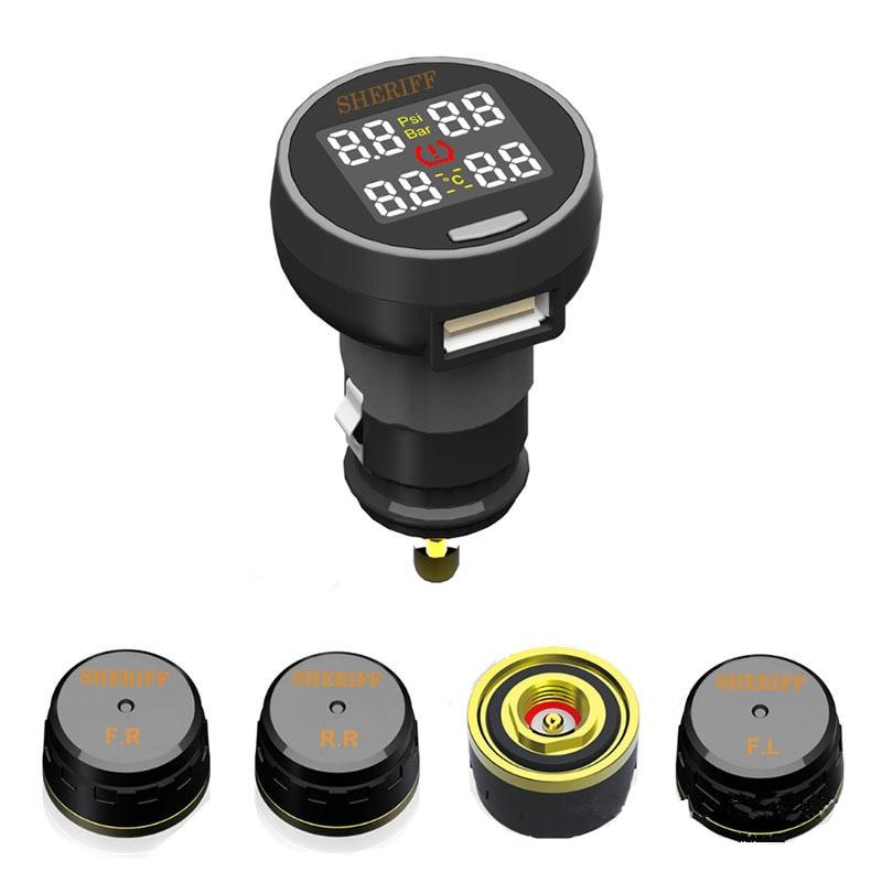 TP200 TPMS Car Wireless Tire Pressure Monitoring System + 4 Mini Sensors Cigarette Tyre
