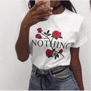 Nothing Letter Rose Print Female T Shirt Harajuku T-Shirts Women New Summer Short Sleeve Casual Clothing Punk Tee Tops
