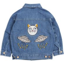 2018 Baby Girls Denim Jacket UFO Cat Embroidery Boys Coats