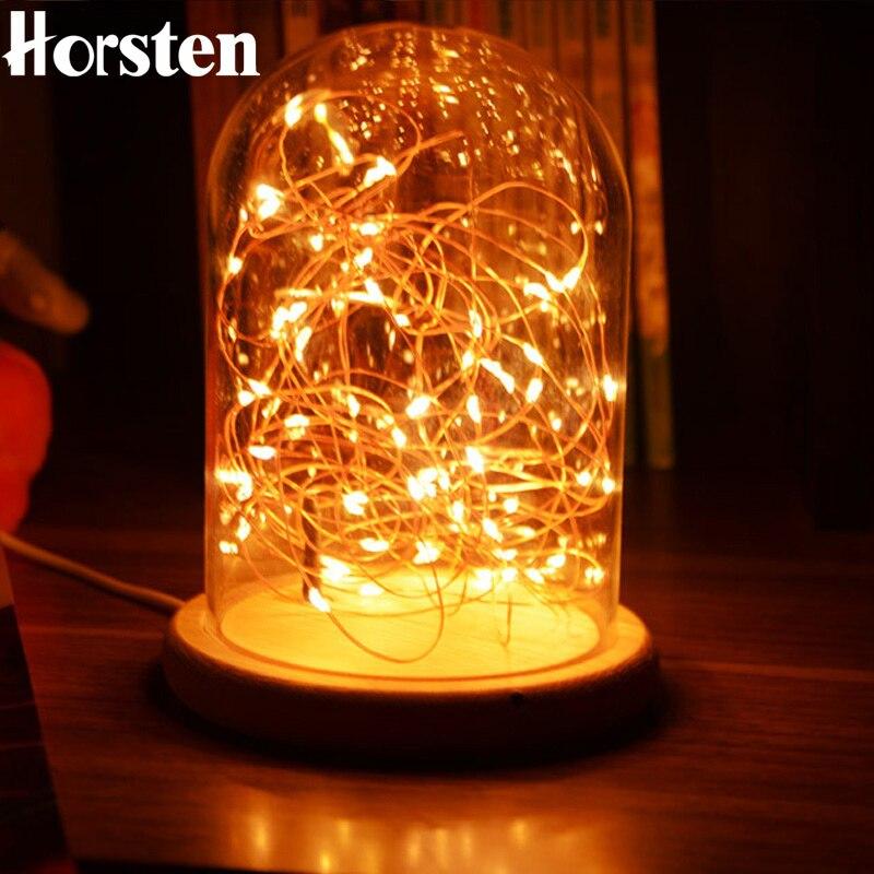 Horsten Romantique LED Nuit Lumière Fil De Cuivre Lumières USB De Charge Feu D'artifice Table En Verre Lampe Guirlande Led Night Light Lampe De Bureau