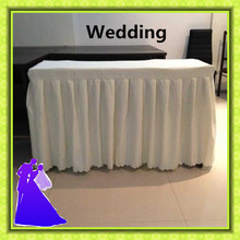 Hot selling 100% polyester white table skirt used for wedding party event free shipping hot selling dunlop ventilated 100