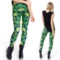 New Fashion Girl Women's Green Leaf leggings Weed Printed Leggings Pants Black Milk Leggings S/M/L/XL