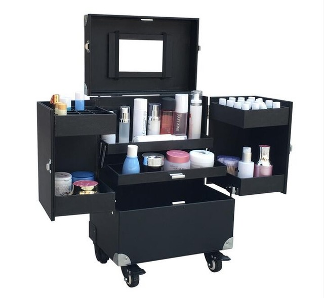 Etonnant Aluminum PU Leater With PVC Panel Rolling Makeup Storage Case Cosmetic  Train Box Trolley Lockable
