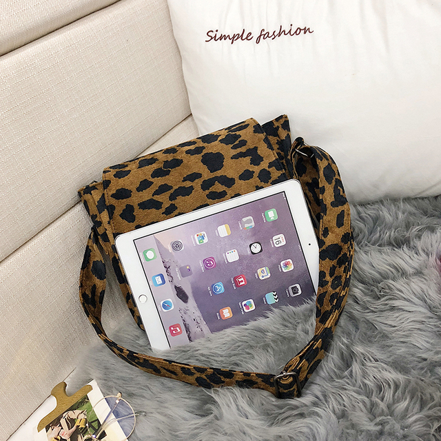 2020 leopard print Vintage Women small crossbody Bag corduroy Day High Quality mini bags Women Shoulder Bag Handbag Female 3