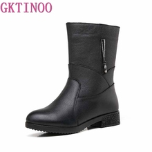 Thick Heel Shoes Snow-Boots Waterproof Women Winter Genuine-Leather 35-42 Plush GKTINOO