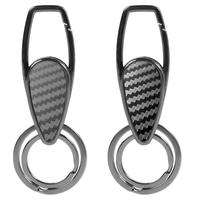 Universal Motorcycle Car Keyring Double Ring Carbon Fiber Alloy Keychain Auto Key Ring Accessories Men Like Gift
