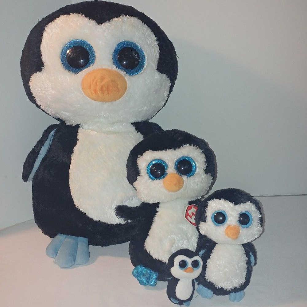 302dd1c4663 ... Pyoopeo Ty Beanie Boos Waddles the Penguin Set of 4 Clip Regular Medium  Large Plush Stuffed ...