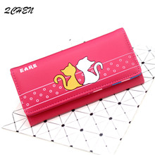 Women Wallets Small Fashion Brand Leather Purse Ladies Card Bag Cat Clutch Female Money Clip 310