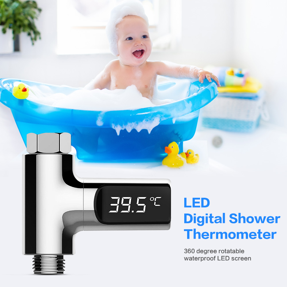 LED Digital Shower Thermometer Battery Free Real Time Flow Thermometer Bathing Water Electricity Water Temperture Meter Monitor