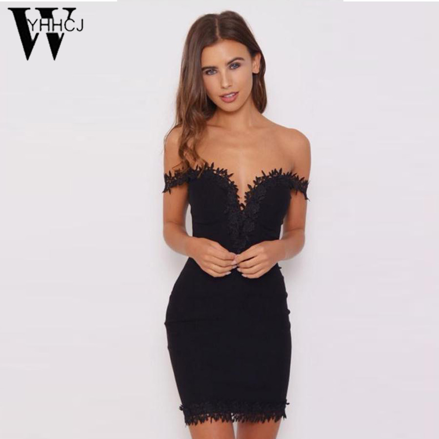 WYHHCJ 2017 New Women Summer Mini Dresses Sexy V Neck Sleeveless Vestidos Black Lace Hollow Out Party Bandage Dress