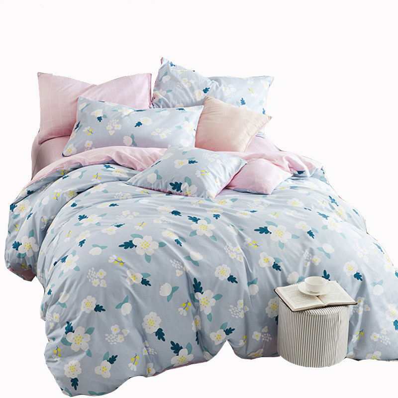 light blue floral duvet cover set pink plaid coverlet soft pillowcase 100 cotton kids bedding - Floral Duvet Covers
