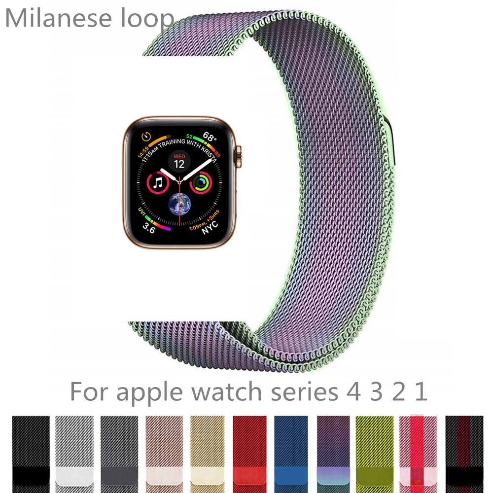 Stainless steel strap series 4 3 2 1 for apple watch band 44mm 40mm 38mm 42mm milanese loop iwatch watchband link magnet buckle case link bracelet strap for apple watch 4 3 2 1 44mm 40mm band stainless steel metal buckle watchband iwatch series 42mm 38mm