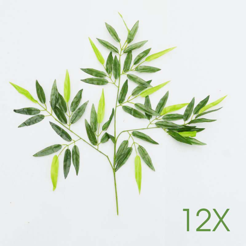 12pcs green artificial bamboo leaves plants plastic tree for Decoration leaves