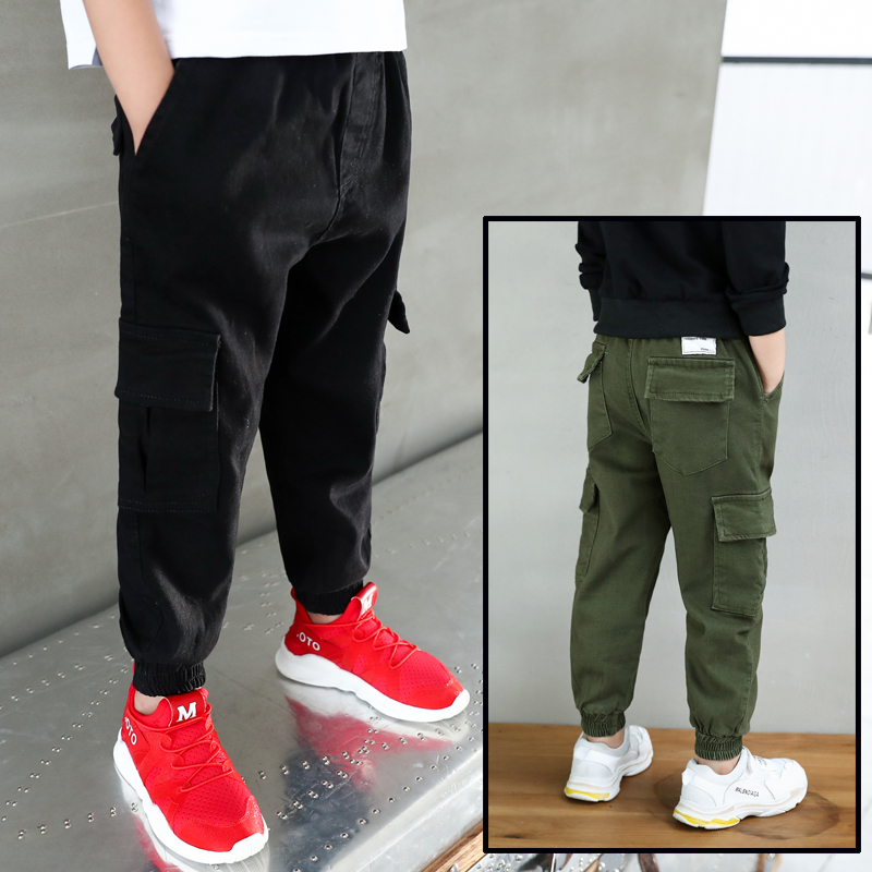 New 2019 Autumn Teens Jeans For Boy  green Baby Boys Jeans Pants Designer Kids Jean Children's Elastic Waist Denim Long Pant-in Pants from Mother & Kids