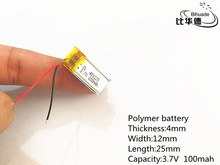 Free shipping 10pcs/lot 3.7V 100mAh 401225 Lithium Polymer LiPo Rechargeable Battery li ion For Mp3 PAD