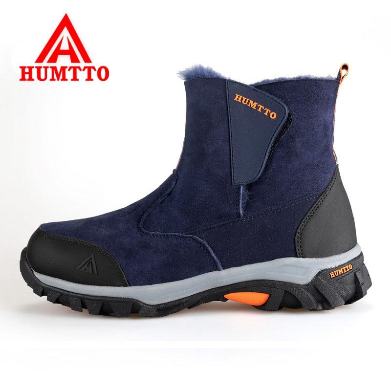 ФОТО 2016 Men Warm Hiking Shoes Outdoor 100% Genuine Leather Women's Sports Trekking Shoes Antiskid Winter Women Hiking Snow Botas