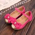 Party girls shoes flor crianças menina princesa crianças de couro vermelho sapatos de moda de nova 2016 primavera outono tamanho 21 ~ 30 3 ~ 9 anos