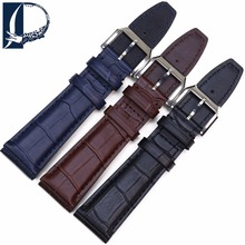 Pesno 20mm 22mm Bamboo Grain Watch Band Genuine Leather Strap for IWC Men Stainless Steel Buckle Belt Bracelet Brown
