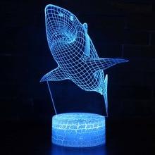 Color Changeable LED Abajur 3D Illusion Visual Night Light Bedroom Decoration Light Novelty Table Desk Lamp Kids Gift Shark Fish недорого