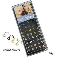 40 sztuk/pudło Hollow Serce Śruby Nos Stud Pierścień Ciała Biżuteria Piercing 20g