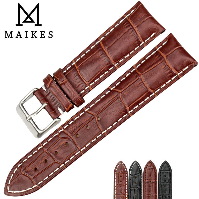 MAIKES New Watch Accessories Genuine Leather Watch Strap Brown Watchbands With White Stitching For Longines Watch Band longines часы купить в москве