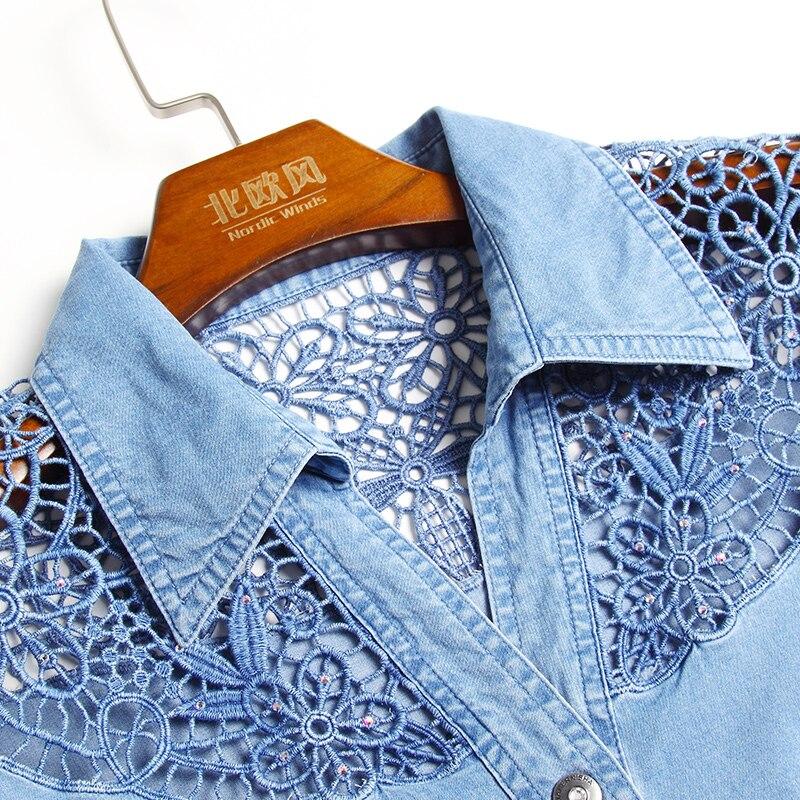 Manches Casual Denim Robes dark Creusent 2017 Jeans Blue Cowboy D'été Pour Taille 4xl Blue Dehors Dentelle À Plus Vêtements Courtes Femmes Robe rEFcrqgR
