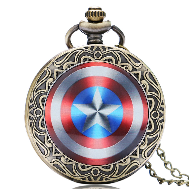 Classic Bronze Captain America Pocket Watch Glass Dome Design Quartz Fob Watches With Necklace Chain Pendant Gift