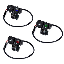 4 In 1 12-24V Socket Dual USB Motorcycle Charger Waterproof Scooter Cigarette Lighter Mobile Charger with Voltmeter LED lighting платье la redoute длинное на тонких бретелях с кружевом на вырезе 38 fr 44 rus синий