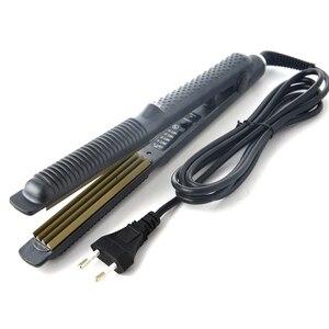 Image 4 - Profesyonel sıcaklık kontrolü titanyum elektronik saç düzleştiriciler oluklu Crimper dalga doğrultma demir Styling aracı