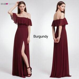 Image 4 - Ever Pretty элегантные сексуальные Длинные Бордовые Платья для подружки невесты, шифоновое платье с v образным вырезом и открытой спиной для свадебной вечеринки, платье подружки невесты
