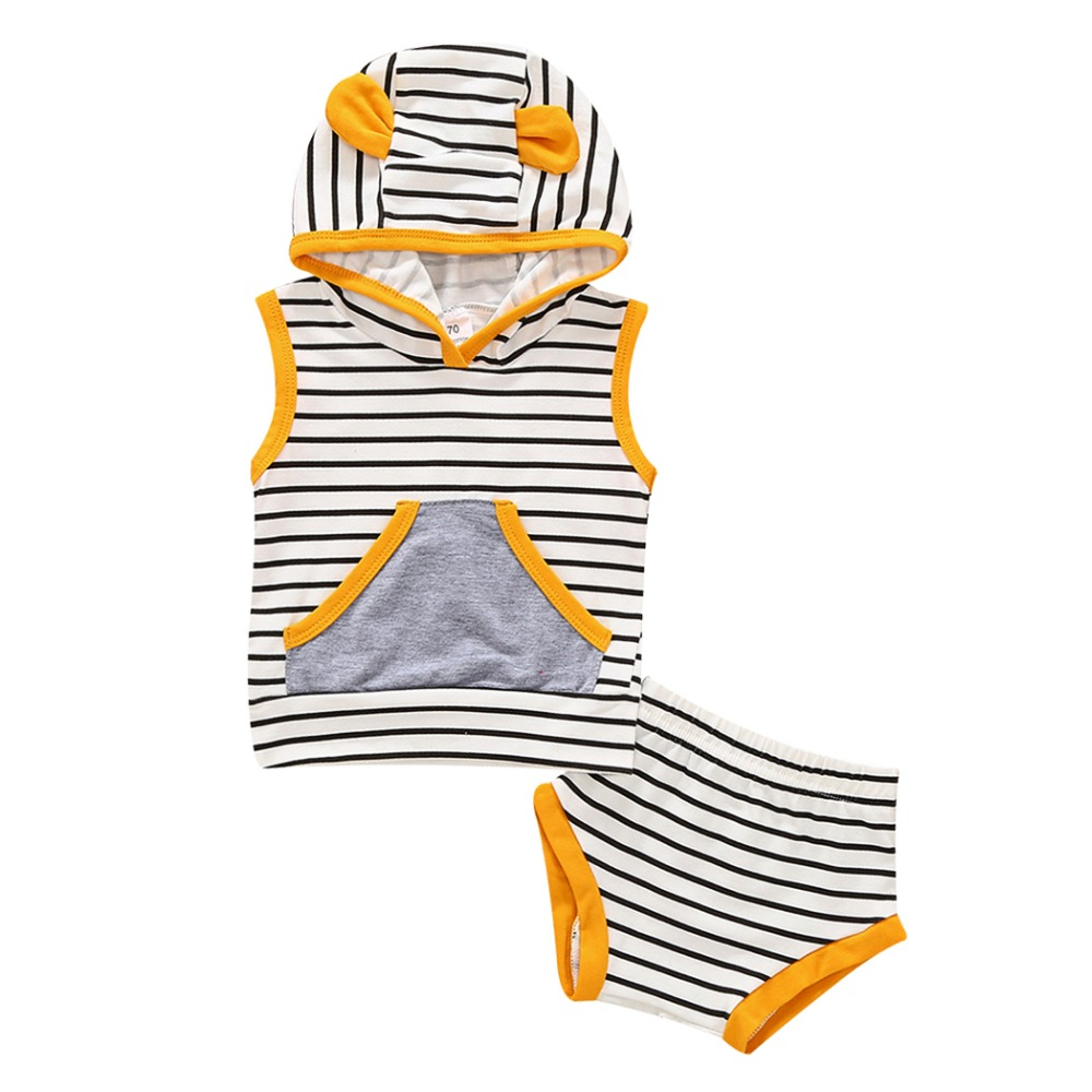 Newborn Toddler Kids Baby Boys Girls Outfits Clothes T-shirt Tops Hooded Striped + shorts Casual Clothing 2PCS Set Baby Boy Girl