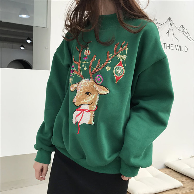 Christmas Deer Sweatshirt Women Winter Cotton O Neck blue red Jumper Knitted Pullover Sweatshirt Female Long Sleeve