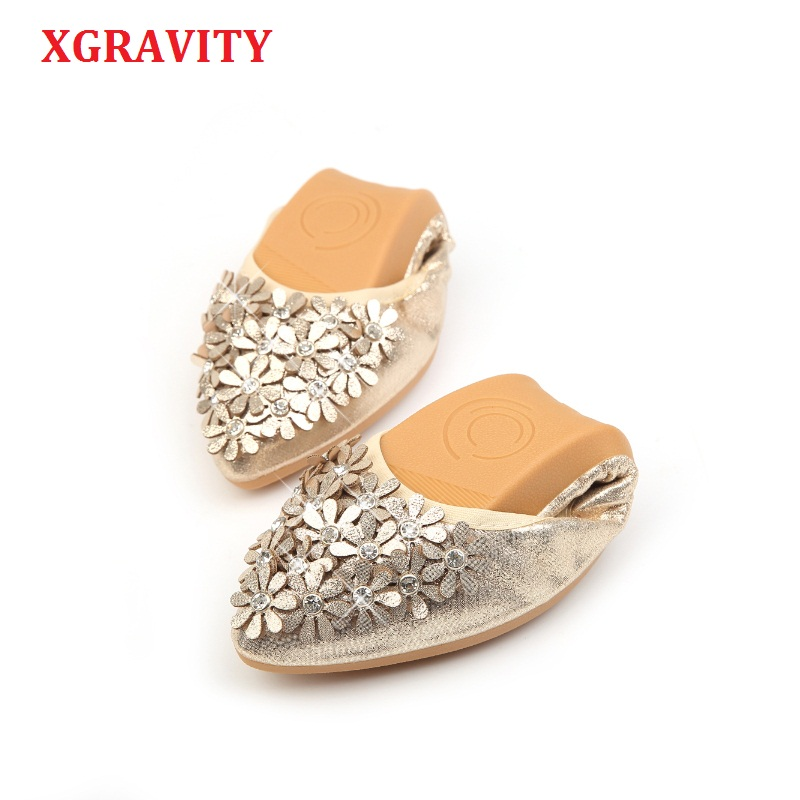 XGRAVITY Loafers Flower Flats-Ballet Rhinestone Crystal Spring Golden-Shoes Floral Pointed-Toe