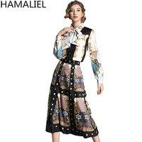 HAMALIEL Runway Autumnw Women 2 Piece Set 2018 Vintage Printing Bowknot Long Sleeve Blouse + High Waist Midi Party Skirt Set