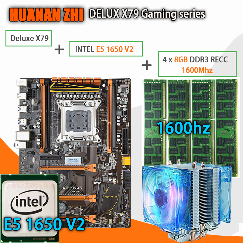HUANAN ZHI Deluxe X79 carte mère de jeu LGA 2011 ATX CPU E5 1650 V2 SR1AQ 4x8G 1600 Mhz 32 GB DDR3 RECC Mémoire avec refroidisseur