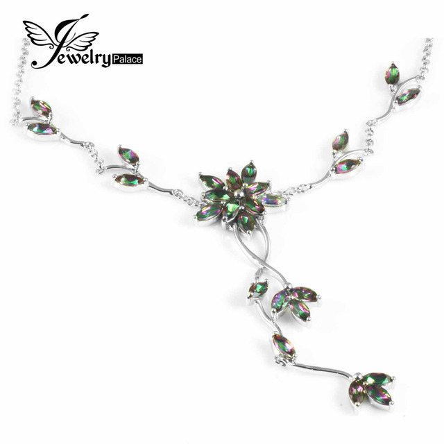 Brand New Solid 925 Sterling Silver 5.5ct Genuine Natural Fire Rainbow Mystic Topaz Pendant Necklace Trendy Top Quality Set