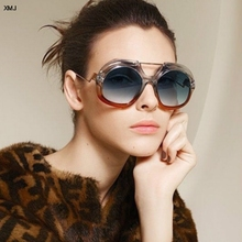 New sunglasses fashion big box men and women gradient toning glasses 2019